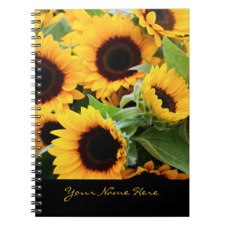 Sunflowers Spiral Notebook with Customizable Text