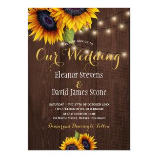 Sunflowers string lights fall trendy wedding invitation