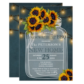 Sunflowers string lights jar housewarming bbq card