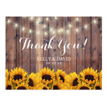 Sunflowers String Lights Rustic Wedding Thank You Postcard