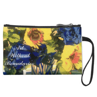 """Sunflowers"" Suede Wristlet Wallet"