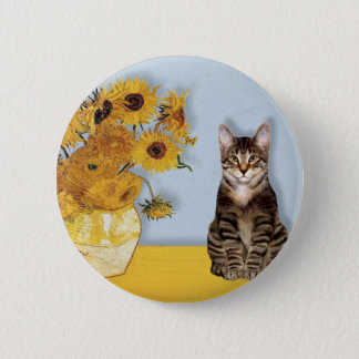 Sunflowers - Tabby Tiger cat 30 Button
