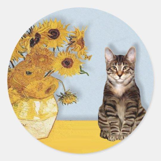 Sunflowers - Tabby Tiger cat 30 Classic Round Sticker