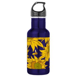 Sunflowers Teal 16oz Aluminum Water Bottle