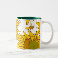 Sunflowers Teal Interior 11oz Mug