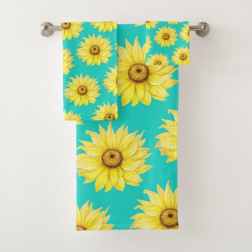 Sunflowers Teal pattern Bath Towel Set