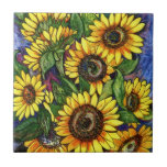 "Sunflowers Tile<br><div class=""desc"">A colorful drawing of fresh sunflowers on a blue background.</div>"