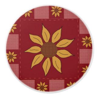 Sunflowers Vintage Quilt-Look Ceramic Knob