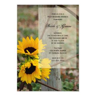 Sunflowers Wagon Wheel Country Post Wedding Brunch 5x7 Paper Invitation Card
