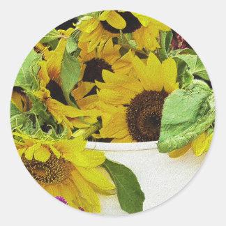 Sunflowers Waiting Classic Round Sticker