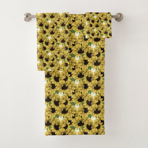 Sunflowers Washcloth, Hand and Bath Towels.unflowers Washcloth, Hand and Bath Towels Available as individual pieces or a set. Matches / coordinates with the bath mat, shower curtain and soap dispenser toothbrush holder set in my Sunflowers Bed and Bath Collection 3. You can change the cream color behind the design to another color if you prefer.