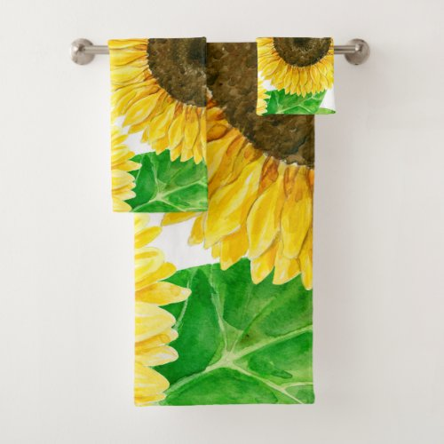 Sunflowers watercolor bath towel set
