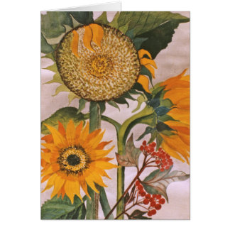 Sunflowers Watercolor Painting 3 Sunflower Flower Cards