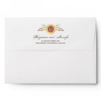 Sunflowers Watercolor Rustic Wedding Envelope