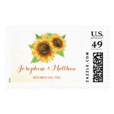 Sunflowers Watercolor Wedding Postage