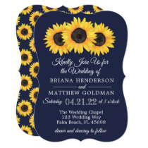 Sunflowers Wedding Invitations Country Blue
