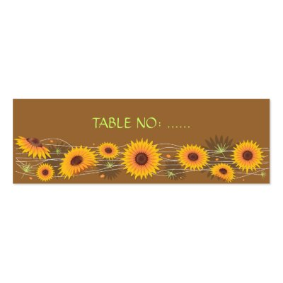 Sunflowers Wedding Party Table Place Card Simple Business Cards by Ruxique