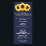 """Sunflowers Wedding Program Country Floral on Blue<br><div class=""""desc"""">Allow your guests to follow along during your ceremony with a wedding program decorated in the Country Sunflowers on Blue Floral Wedding Theme.</div>"""