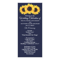 Sunflowers Wedding Program Country Floral on Blue