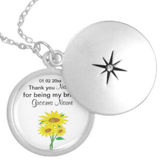 Sunflowers Wedding Souvenirs Keepsakes Giveaways Silver Plated Necklace