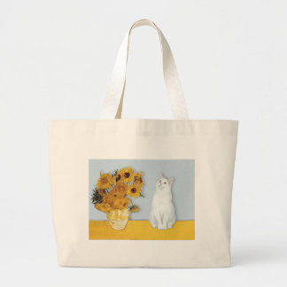 Sunflowers - White cat Large Tote Bag