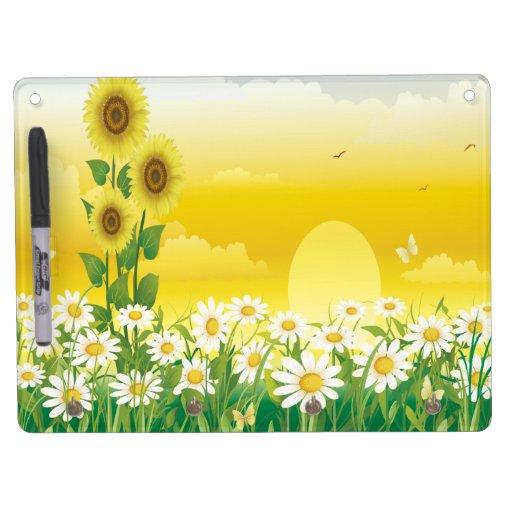 Sunflowers, White Flowers, Sun , Dry Erase Boards