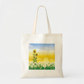 Sunflowers, White Flowers, Sun , Tote Bag