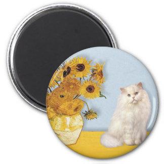 Sunflowers - White Persian cat Magnet