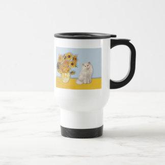 Sunflowers - White Persian cat Travel Mug