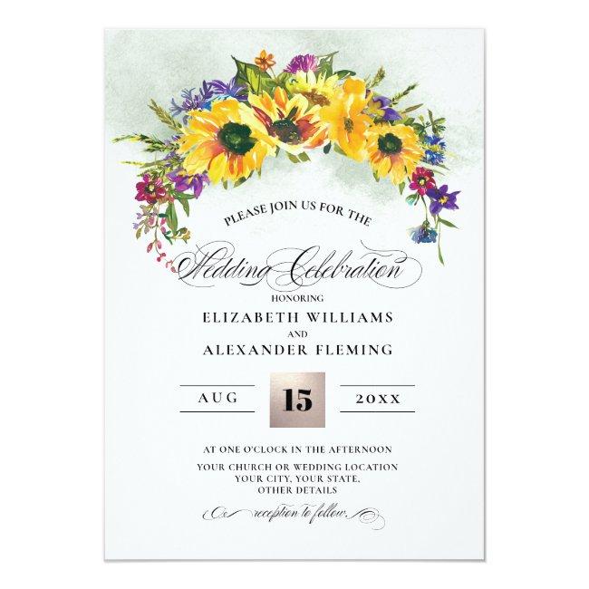 Sunflowers | Wild Meadow Summer Rustic Wedding Invitation