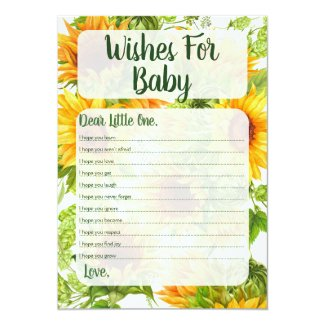 Sunflowers Wishes For Baby Shower Game Yellow Invitation