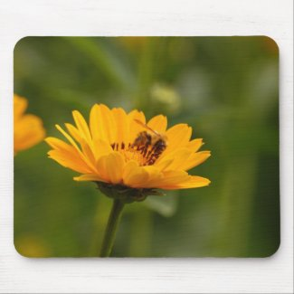 Sunflowers with bee mouse pad