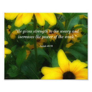 Sunflowers With Bible Verse Photo Print