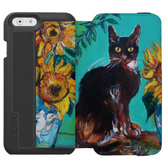 SUNFLOWERS WITH BLACK CAT IN BLUE TURQUOISE iPhone 6/6S WALLET CASE