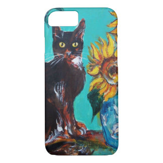 SUNFLOWERS WITH BLACK CAT IN BLUE TURQUOISE iPhone 7 CASE