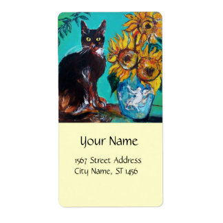 SUNFLOWERS WITH BLACK CAT IN BLUE TURQUOISE LABEL
