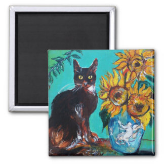 SUNFLOWERS WITH BLACK CAT IN BLUE TURQUOISE MAGNET