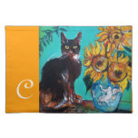 SUNFLOWERS WITH BLACK CAT IN BLUE TURQUOISE CLOTH PLACE MAT