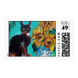 SUNFLOWERS WITH BLACK CAT IN BLUE TURQUOISE POSTAGE STAMP