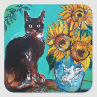 SUNFLOWERS WITH BLACK CAT IN BLUE TURQUOISE SQUARE STICKER