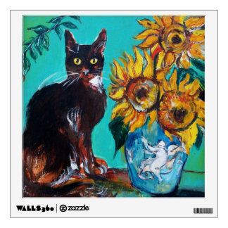 SUNFLOWERS WITH BLACK CAT IN BLUE TURQUOISE WALL DECAL