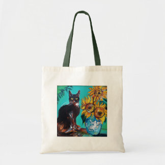 SUNFLOWERS WITH CAT TOTE BAG