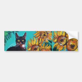 SUNFLOWERS WITH CAT -detail Bumper Sticker