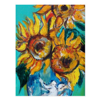 SUNFLOWERS WITH CAT- Detail Postcard