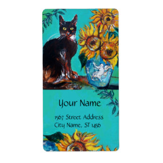 SUNFLOWERS WITH CAT LABEL