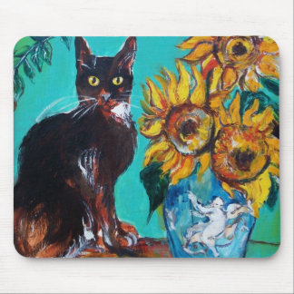 Sunflowers with cat mouse pad