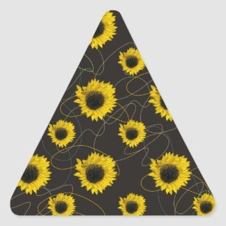 Sunflowers with Organic Shapes Triangle Sticker