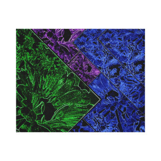 Sunflowers with shades of Green, Purple and Blue Canvas Print