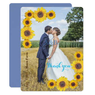 Sunflowers with your photo  - Thank you Card