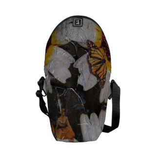 Sunflowers Woman Butterfly Grunge Courier Bag